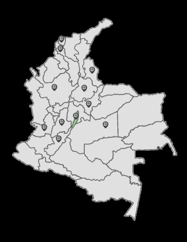 Mapa de ubicación de alquiler y venta de andamios certificados en Colombia